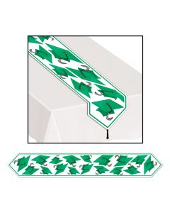 Beistle Grad Cap Graduation Decoration Printed 6' Table Runner, Green