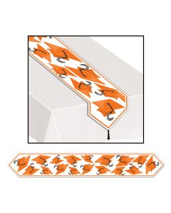 Beistle Grad Cap Graduation Decoration Printed 6' Table Runner, Orange