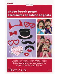 """Unique Valentine's Day Fun 10pc 10"""" Photo Booth Props Party Supplies, Red Pink"""