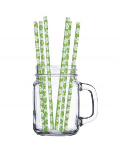 St Patricks Day Party Decorations Shamrock Paper Straws (10ct) Green White