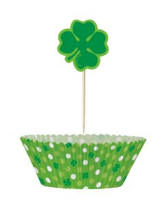 St Patrick's Shamrock Clover Cupcake Decorating Kit, 24 Picks & Cups (48pc)