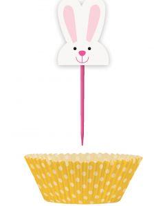 Easter Bunny & Carrot Decor Cupcake Kit, Pink Orange, 24 Picks & Cups (48pc)