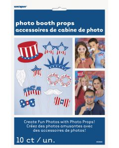 """Patriotic 4th of July Accessories 10pc 10"""" Photo Booth Props, Red White Blue"""