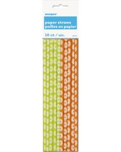 "Unique Citrus Slice Festive Summer Drink 8"" Paper Straws, Green Orange, 10 CT"