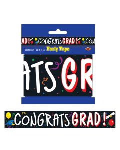 Beistle Congrats Grad Graduation Banner Caution 20' Party Tape, Black