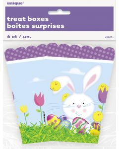 "Unique Colorful Easter Sunday Party Bunny Eggs Treat 5"" Gift Boxes, 6 CT"