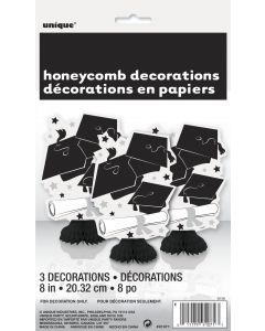 "Unique Grad Caps & Diploma Decoration 8"" Table Centerpiece, Black White, 3 CT"