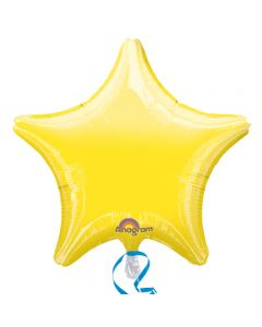 "Anagram Metallic Star Solid Jr Shape Hx Mylar 19"" Foil Balloon, Yellow"