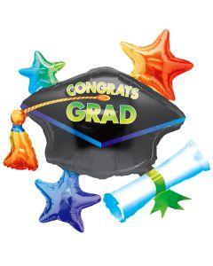 """Anagram Congrats Grad Giant Cluster Graduation 34"""" SuperShape Foil Balloon"""