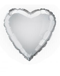 "Anagram Metallic Heart Jr Shape Mylar Solid 18"" Foil Balloon, Silver"