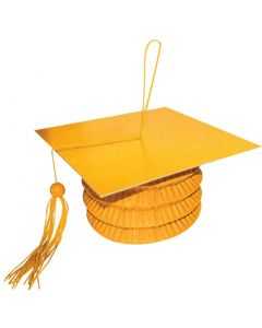 "Anagram Grad Cap Paper Lantern Bouquet 5.5"" Balloon Weight, Orange"