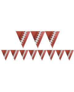 Amscan Football Party Decorative Large 12' Pennant Banner, Brown White