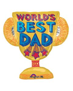 """Father's Day World's Best Dad Gold Trophy 26"""" X 27"""" Foil Balloon Gift"""