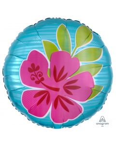 "Anagram Summer Scene Flowers Hibiscus Luau Round 18"" Jr Shape Foil Balloon"
