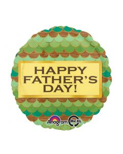 "Anagram Father's Day Scallop Pattern HX Standard 18"" Foil Balloon, Green"