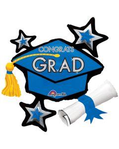 Congrats Grad Cap School Colors Cluster SuperShape 31in Foil Balloons, Blue