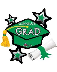 Congrats Grad Cap School Colors Cluster SuperShape 31in Foil Balloons, Green