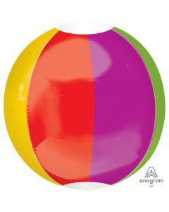 "Classic Beach Ball Orbz XL Summer Fun 15"" 3-D Shape Foil Balloon, Rainbow"