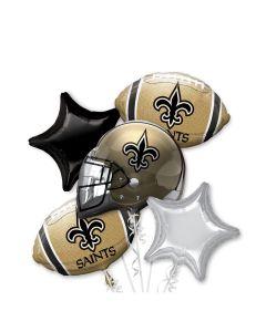 Anagram New Orleans Saints Team Football Bouquet 5pc Balloon Pack, Gold Black