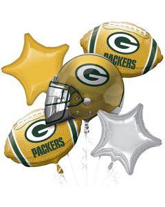 NFL Green Bay Packers Team Football Bouquet 5pc Balloon Pack, Yellow Green