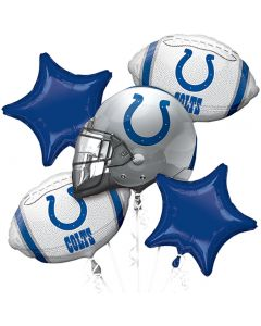 NFL Indianapolis Colts Team Football Bouquet 5pc Balloon Pack, Silver Blue