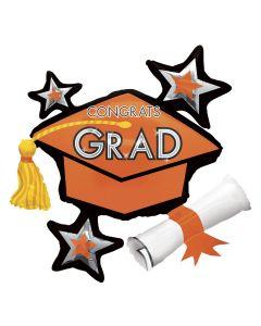 "Anagram Star Burst Graduation Cap w Tassle 36"" Foil Balloon, Orange"