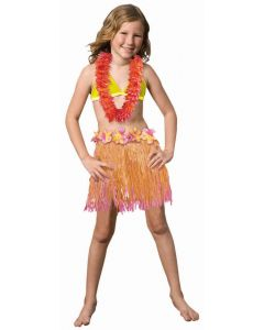 "Amscan Hawaiian Luau Hula Girls Grass Skirt, Pink Orange, One Size 22"""