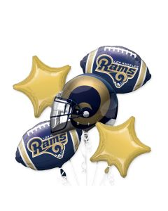 Anagram NFL Los Angeles Rams Team Colors Bouquet 5pc Balloon Pack, Blue Gold