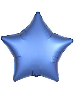 "Anagram Solid Color Star Satin Luxe 18"" Jr Shape Foil Balloon, Azure Blue"