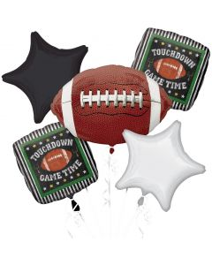 Game Time Touchdown Old-Fashioned Football Bouquet 5pc Balloon Pack, Black White