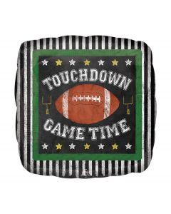 "Game Time Football Square Jr Shape HX 18"" Foil Balloon, Brown Black White"