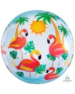"Lets Flamingle Orbz Flamingo Summer 15"" 3-D Shape Foil Balloon, Blue Pink"