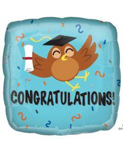 "Anagram Congratulations Graduation Owl Square 18"" Foil Balloon, Blue Brown"
