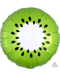 "Tropical Kiwi Round Helium Saver 18"" Jr Shape Foil Balloon, Lime Green Black"