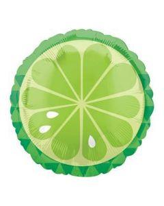 "Summer Time Tropical Sour Lime Fruit 18"" Jr Shape Foil Balloon, Green White"