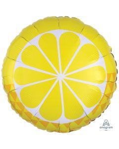 "Summer Time Tropical Sour Lemon Fruit 18"" Jr Shape Foil Balloon, Yellow White"
