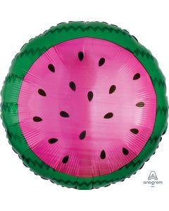 """Watermelon Fruit Tropical Summer 18"""" Jr Shape Foil Balloon, Magenta Green"""