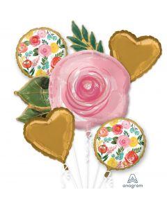 Anagram Summer Bright Elegant Flowers Bouquet 5pc Balloon Pack, Gold Pink