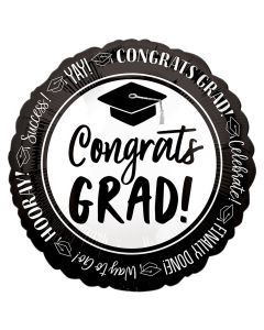 Congrats Grad Celebrate Success Graduation Round Foil Balloon, Black White