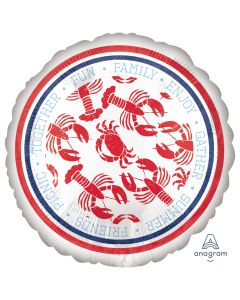 "Anagram Summertime Seafood Fest 18"" Jr Shape Foil Balloon, White Blue Red"