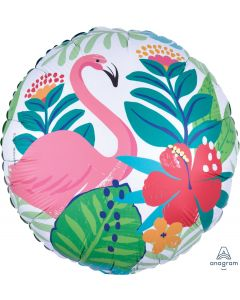 Anagram Tropical Jungle w Flamingo & Flowers Round 18'' Jr Shape Foil Balloon