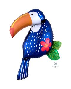 "Summer Tropical Jungle Toucan SuperShape XL 37""x30"" Jumbo Foil Balloon, Blue"