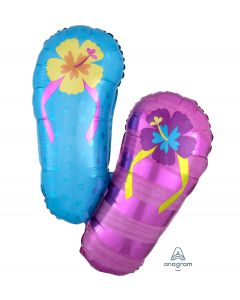 "Hibiscus Flip Flops Summer SuperShape 33"" Jumbo Foil Balloon, Purple Blue"