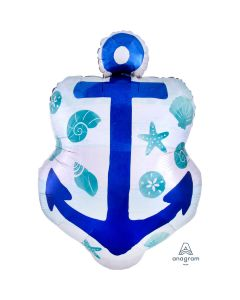 "Anagram Sea, Sand, Sun & Summer SuperShape 30"" Jumbo Foil Balloon, Blue Grey"