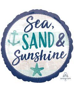 "Anagram Sea, Sand, Sun And Summer Fun 18"" Jr Shape Foil Balloon, Blue Grey"