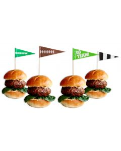 "Amscan Football Themed Flag Touchdown Go Team 36pc 2"" Cupcake Picks, Green"