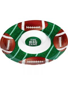 """Football Party Resuable Chips & Dip Bowl Set 13"""" Serving Platter Green Brown"""