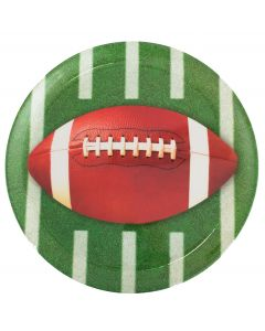 """Realistic Football Party Food Snacks 13"""" Serving Platter, Brown Green White"""