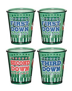 Amscan First Down Football Party Drinking 4pc 1.5 oz Shot Glasses, Green