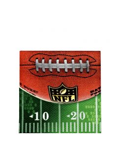"""Amscan NFL Drive Football Party 5"""" Beverage Napkins, Green White Brown, 16 CT"""